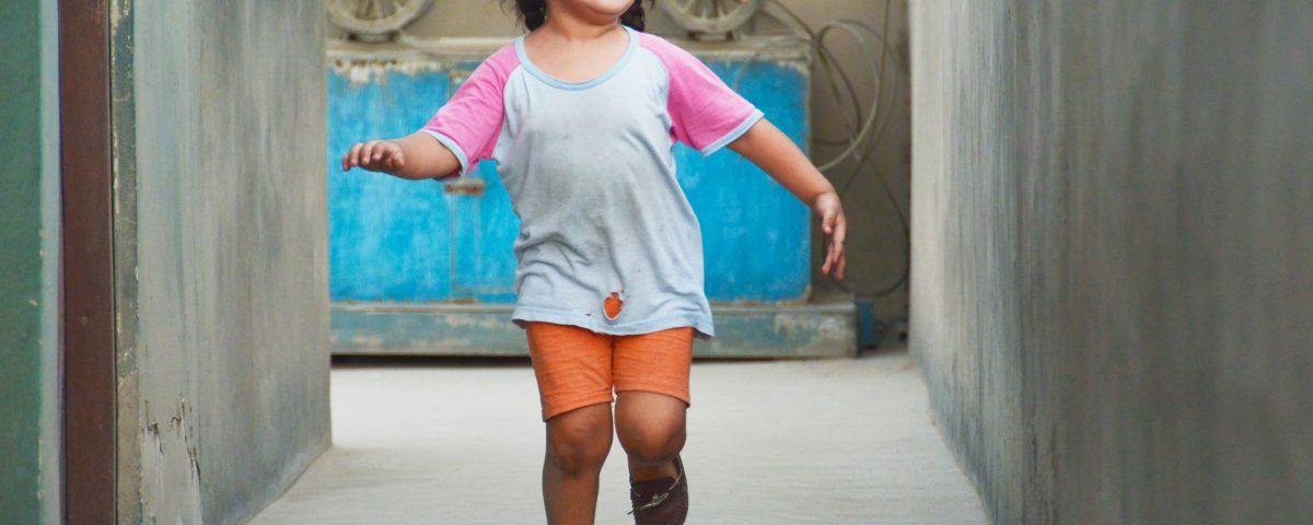 Hispanic Little Girl Running